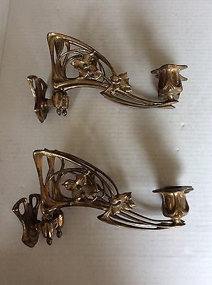 Pair: ANTIQUE FRENCH Art Nouveau Ornate Solid Brass Candle Wall Sconces PIEYEL