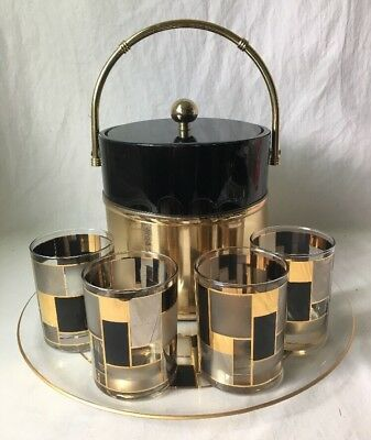 Vintage Culver Barware Set Ice Bucket Glass Tray 4 Flat Tumblers Black Gold MCM
