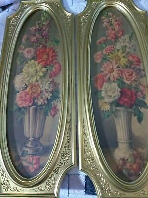 Pair MCM Dart Industries Cecil Rubino Floral Faux Oil Painting Wall Hangings
