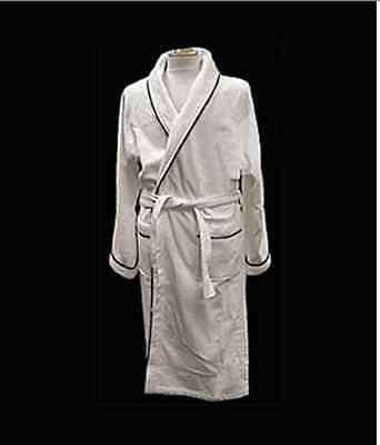 Frette Velour XL Shawl Collar Robe Bathrobe with Black Piping $300+ Value