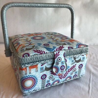 Luxury Sewing Basket Box Blue Nature Fox Pattern - Small - Craft Storage Gift
