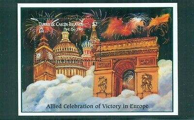 Turks and Caicos 1995 World War Two VE Day Fireworks Big Ben Mini Sheet SG 1356