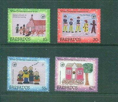 Barbados 1996  Christmas Childrens Paintings ART UNICEF    SG 1097-1100 MNH