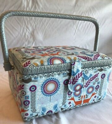 Luxury Sewing Basket Box Blue Nature Fox Pattern - Medium - Craft Storage Gift