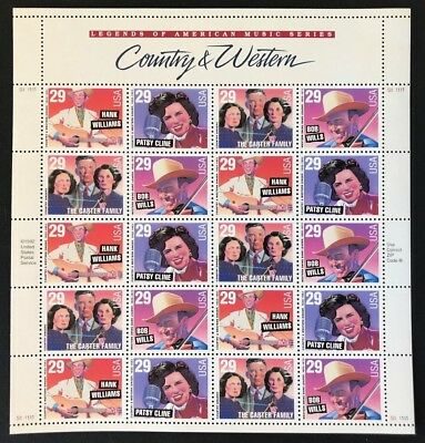 US Sheet 29¢ Stamps (20) COUNTRY & WESTERN MUSIC 1994  MNH #2771-2774