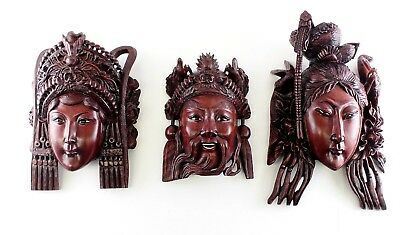 """Rosewood Carved Mask """"Romance of the Three Kingdoms"""" 3 Characters Peking Glass"""
