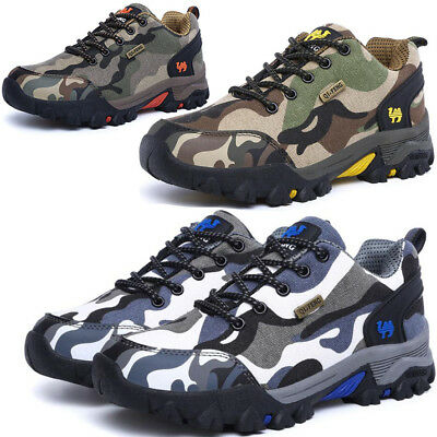 Mens Womens Camo Hiking Trail Trekking Walking Boots Outdoor Trainers Shoes