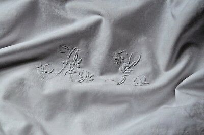 Antique French AL monogrammed pillow case, hand made crochet lace edge