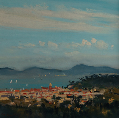 Jacques Coquillay, paysage mediterraneen pastel 20x20