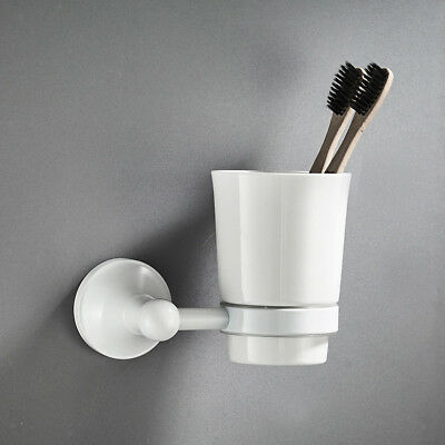 Wall Mounted Toothbrush Cup Holder Ceramic Tooth Mug Cup Bathroom Rack Shelf