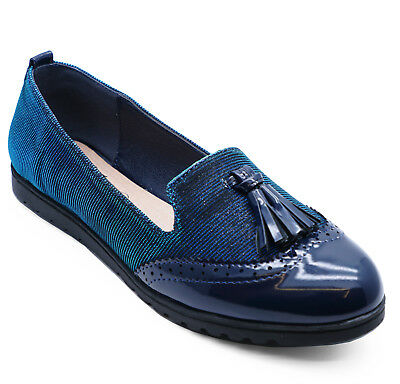Womens Slip-On Blue Comfy Flat Tassle Loafers Smart Casual Shoes Sizes 3-8
