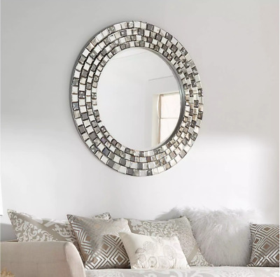 Wall Mirror Large Round Silver Framed Tile Mosaic Modern Contemporary Home Decor