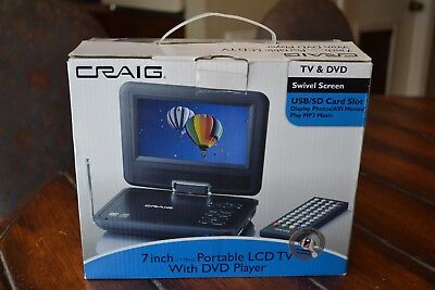 new Craig CTV1703 7-Inch Combo Swivel LCD TV w/ DVD Player USB SD Slot + BATTERY