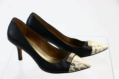 1581be8bb7a Coach Black Leather Ivory Python Pointed Toe Classic Formal Pump 7.5B