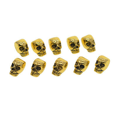 10x Gothic Punk Large Hole 3D Skull Spacer Loose Beads Jewelry Making Charms