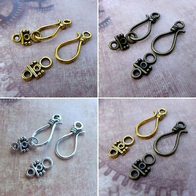 Pack of 5 Sets Hook and Eye Clasps Bronze, Silver or Gold Colour