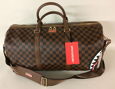Sprayground Brown Sharks In Paris Duffle Bag LIMITED Authentic Checkered  Duffel 9a4146e16df95