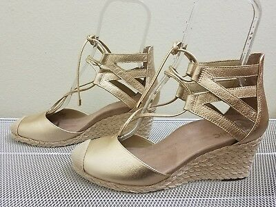 ffbe9876f68 Vionic CALYPSO Women's Gold Leather Lace-up Wedge ESPADRILLES Size 10