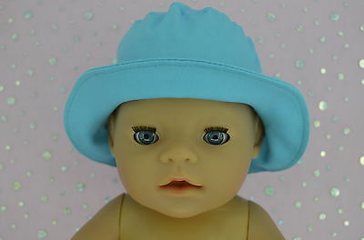 """Play n Wear Doll Clothes To Fit 17"""" Baby Born AQUA DRILL SUN HAT"""