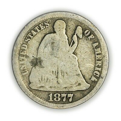 1877-CC Seated Liberty Dime, Small, Silver, Early Type Coin [3771.14]