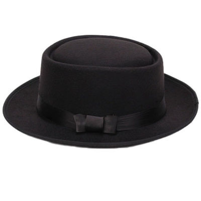 Women Men Cool Classic Jazz Hats Fedora Trilby Hat Blower Hats with Bowknot W2S7
