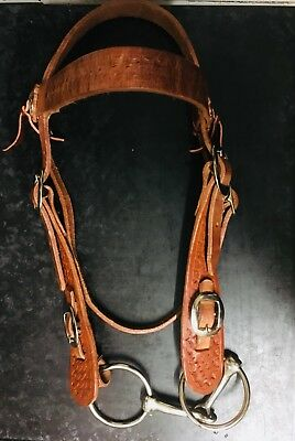 HERMAN OAK LEATHER CUSTOM MADE BRIDLE Made To Last With Snaffle Bit