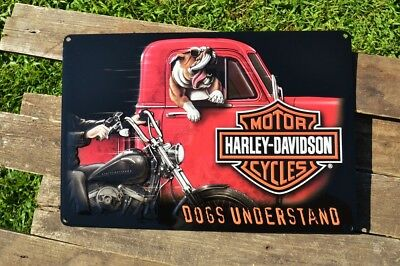 Harley Davidson Dogs Understand Embossed Tin Metal Sign - Bar & Shield - Bulldog