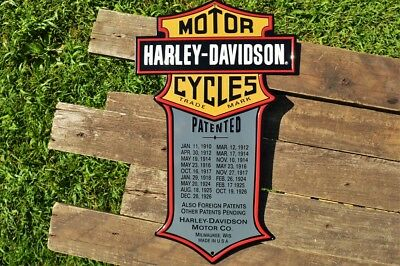Harley Davidson H-D Patented Embossed Tin Metal Sign - Trademark Bar and Shield