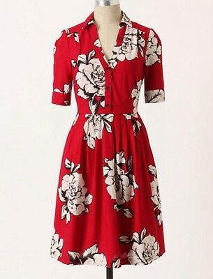 64df96602dfc8 Anthropologie Maeve Dagmar Floral Shirt Dress Button Fit & Flare Full Skirt  ...
