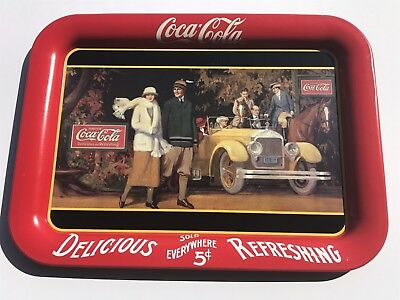 """Vintage Coca-Cola Serving Tray 1987 - """" Touring Car """" - Coke - Image from 1924"""