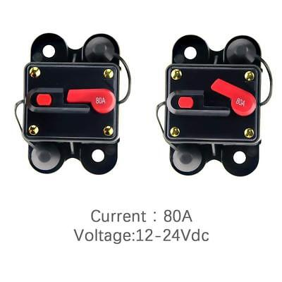 12V-24V DC Circuit Breaker Inline Fuse Inverter Waterproof Manual Reset 80 Amp