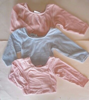 Freestyle Danskin Long Sleeve Dance Leotard Girls 7/8 Lot of 3 Pink Blue Velour