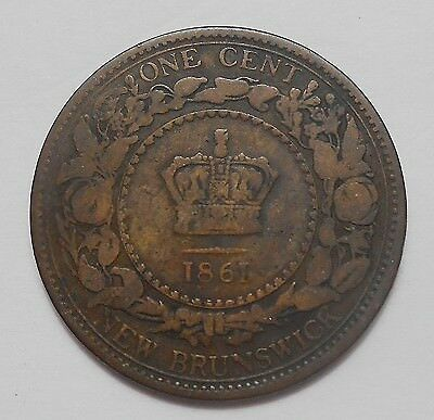 1861 New Brunswick Large Cent VG+ SCARCE 1st Year Queen Victoria Old N.B. Penny