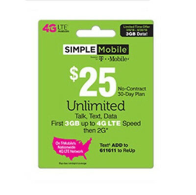 $25 Simple Mobile Retail Prepaid Refill Airtime Card Ship Fast Top Up