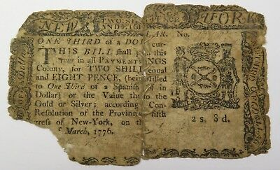 March 5 1776 Colonial Currency $1/3 2 Shillings 8 Pence New York NY-188 #18558F