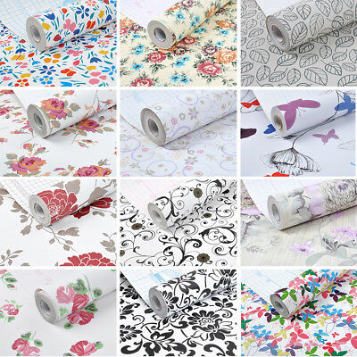 Vinyl Wallpaper Roll Self Adhesive Contact Paper Kitchen Shelf Liner 32ft Floral