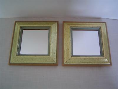 "Set (2) Small 6 1/4"" SQUARE WALL ACCENT MIRRORS Gold-Tone Speckled Wood Frames"
