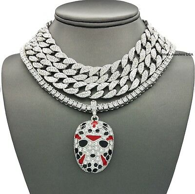Iced Out Silver Miami Cuban Choker & Slaughter Gang Mask Pendant Necklace Set