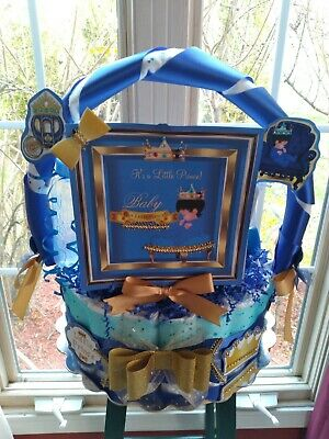 Royal Theme Blue Diaper Cake Gift Basket - Made To Order