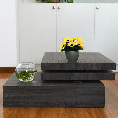 Black Square Rotating Coffee Table Contemporary Modern Living Room Furniture