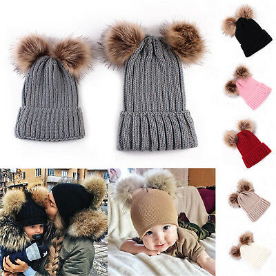 Baby Winter Warm Hat Knit Infant Toddler Kid Women Mom Crochet Hat Beanie Cap