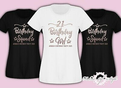 Personalised Birthday Girl Squad 18th 21st 30th 40th  T-shirt Female Rose Gold