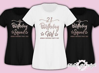 Rose Gold Personalised Birthday Girl Squad 18th 21st 30th 40th  T-shirt Female