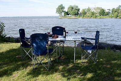 Moustache® Portable Camping Aluminum Folding Table +4 Chairs Set #Max Value Pack