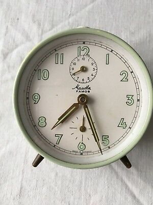 Mauthe Famos German Pale Green Working Vintage Alarm Mechanical Clock