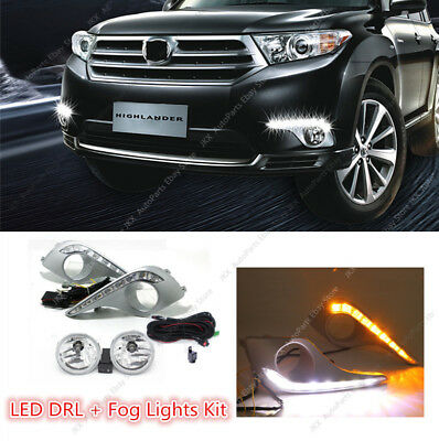 Clear Lens LED DRL Lamp Fog Light Wiring Assy j For Toyota Highlander 2011-2013