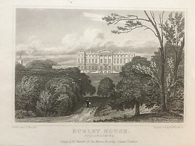 1818 Antique Print; Burley House, near Oakham, Rutland after Neale