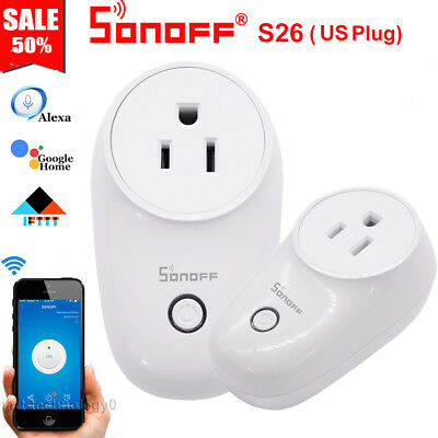 Sonoff S26 US Plug TFTTT WIFI Smart Power Socket Wireless Time For Alexa Google