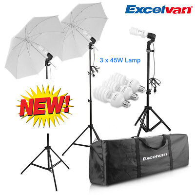 Photo Studio Continuous Lighting Kit Umbrella Light Stand 45W Lamp Set UK Plug