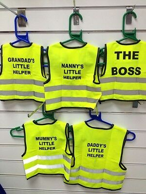 Childrens PrintedYellow Hi Vis High Viz Visibility Vest Waistcoat Jacket Safety